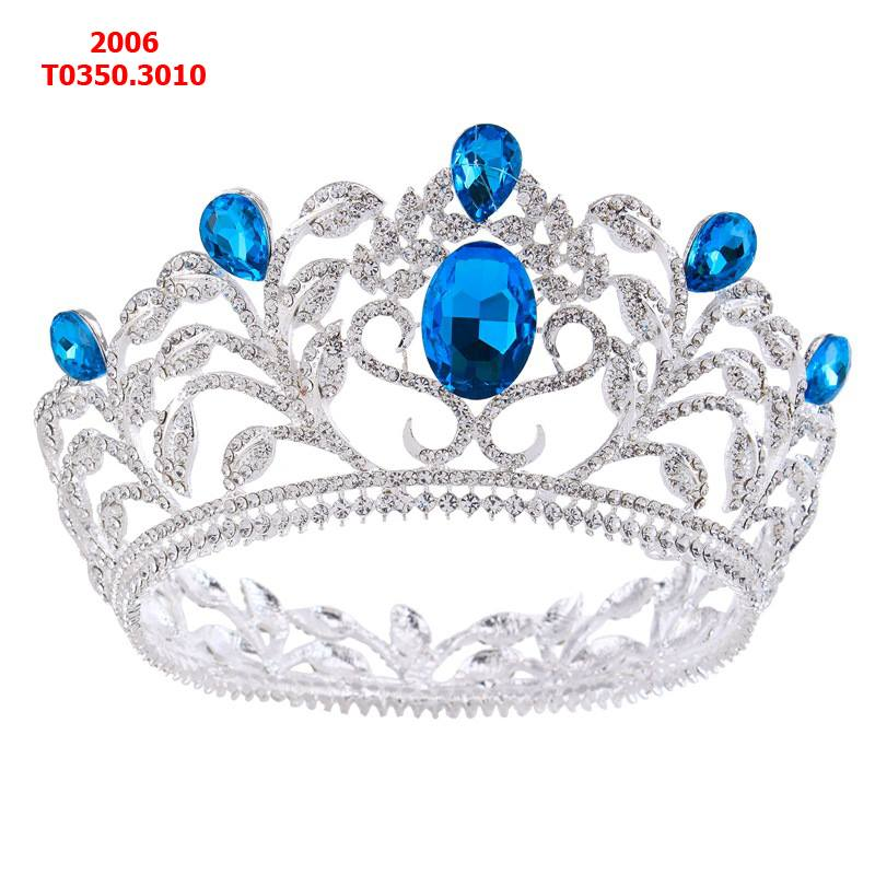 vương miện tròn đính đá hột xanh to nổi bật