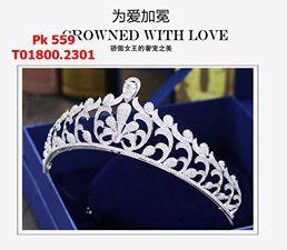 vương miện cô dâu màu trắng hoa văn hàng cao cấp