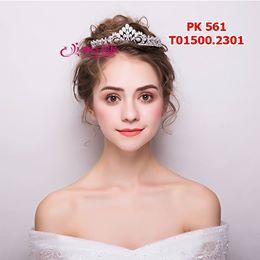 vương miện cô dâu cao cấp màu trắng