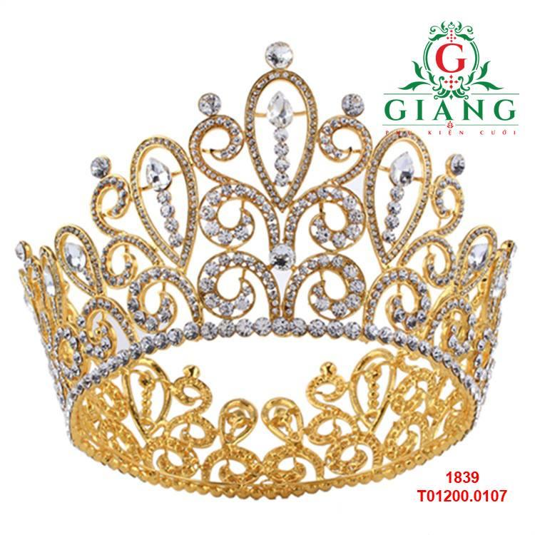 vương miện tròn cao mầu vàng cao cấp