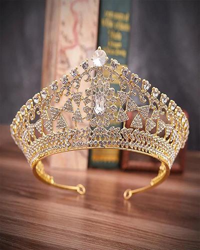 Vương miện cô dâu vàng đính cườm