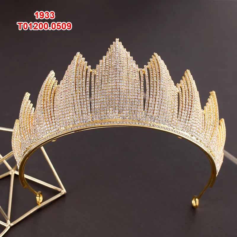 Vương miện cô dâu vàng đính đá lấp lánh