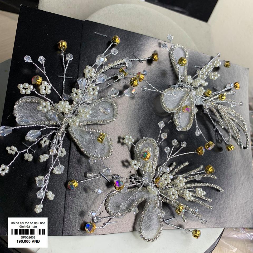 bộ 3 cài tóc cô dâu hoa đính đá mầu