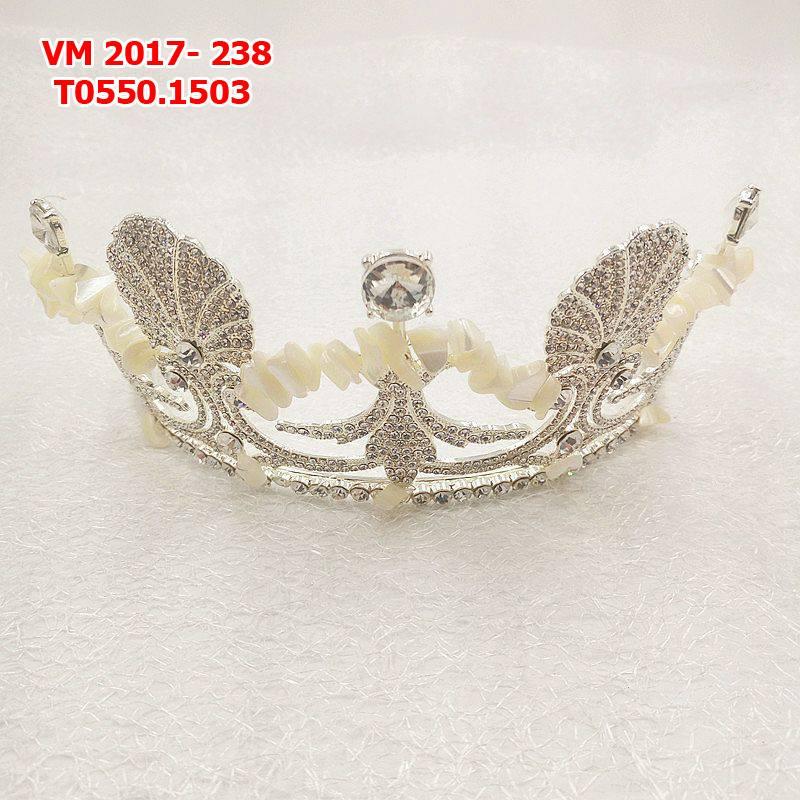Vương miện cô dâu cao cấp , trắng bạc đính cườm đẹp lung linh