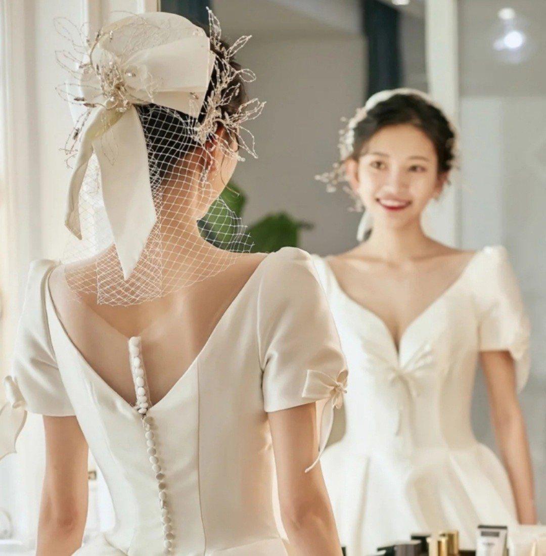 mũ chụp hình cô dâu